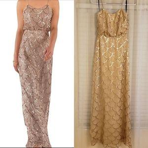 NWOT SORELLA VITA Gold sequin formal gown